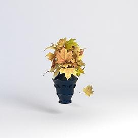 树叶装饰花瓶模型
