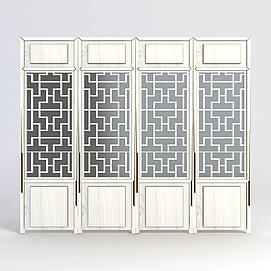 中式雕花门窗模型