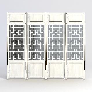 中式雕花门窗3d模型