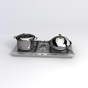 饭店炒锅煮锅模型
