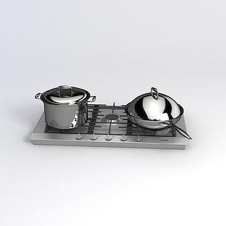 饭店炒锅煮锅3d模型