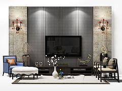 电视背景墙模型3d模型