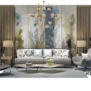 简约沙发茶几组合3d模型