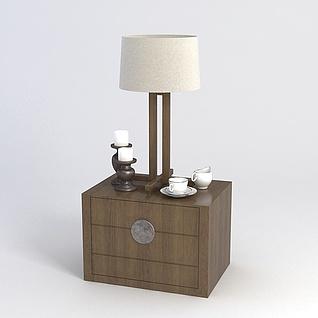 中式边几柜台灯组合3d模型