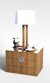 中式边几柜台灯组合模型