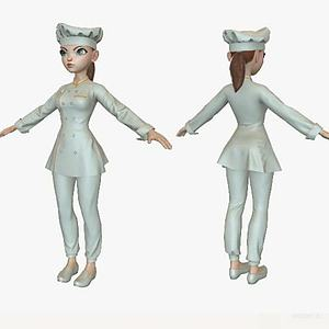 卡通美女厨师模型