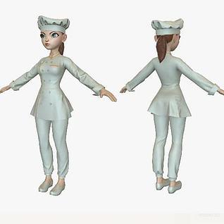卡通美女厨师3d模型