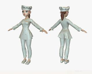 卡通美女厨师模型3d模型