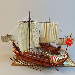 3d罗马战斗船模型