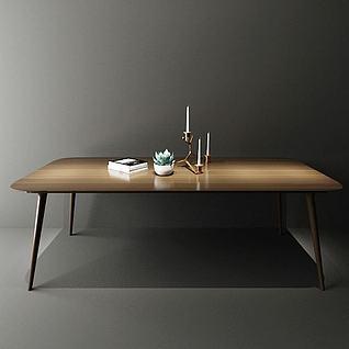 现代木餐桌3d模型