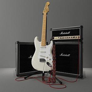 电吉他音响组合模型