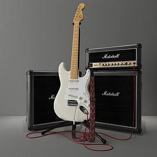 电吉他音响组合3d模型