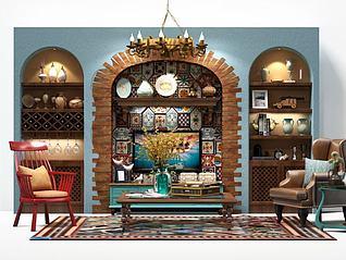 别墅电视墙模型3d模型