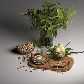 坚果绿植组合模型