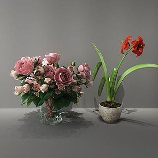 红色花3d模型