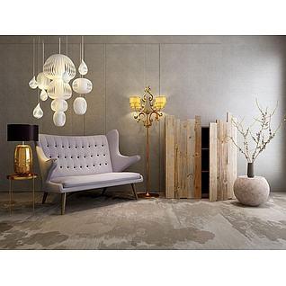 原木柜子纸质吊灯沙发椅组合3d模型