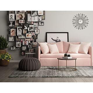 北欧粉色布艺沙发茶几组合3d模型
