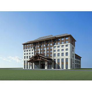 新中式酒店3d模型3d模型
