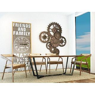 工业风齿轮墙饰餐桌椅组合3d模型