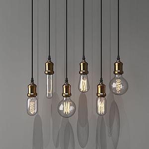 餐廳燈泡吊燈模型3d模型