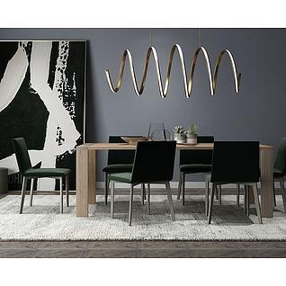 现代餐桌椅组合3d模型3d模型