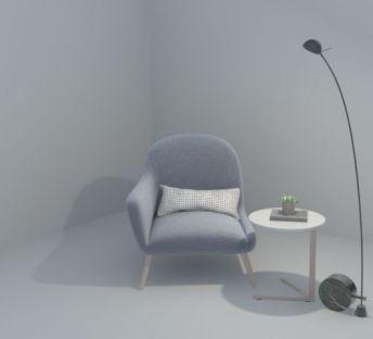 休闲椅落地灯组合