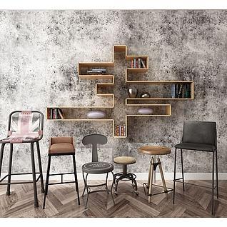 工业风吧椅墙壁置物架组合3d模型