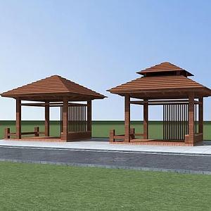公园休息亭模型3d模型