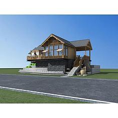 中式别墅3D模型3d模型