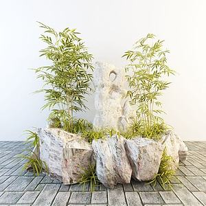 竹子石头景观小品模型