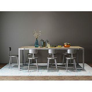 工业风餐桌椅组合3d模型