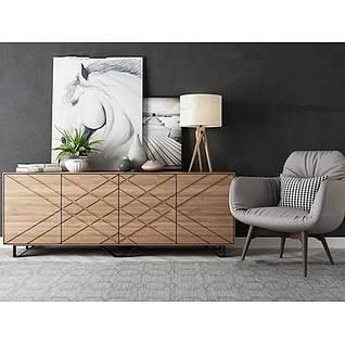 北欧电视柜休闲椅组合3d模型