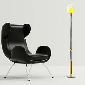 時尚單人椅燈泡落地燈模型3d模型