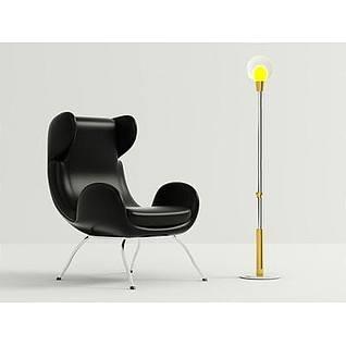 时尚单人椅灯泡落地灯3d模型