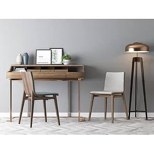 北欧书桌椅3d模型