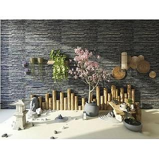 中式壁灯园艺盆栽3d模型