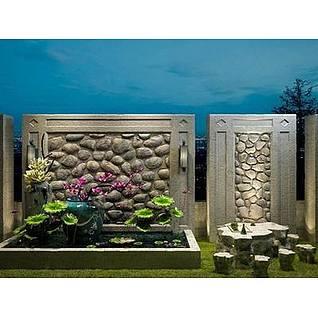 园艺景观石茶桌3d模型