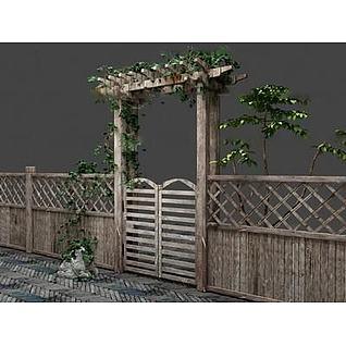 实木篱笆3d模型