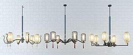 中式金属吊灯3d模型