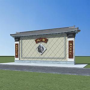 中式景墻模型3d模型