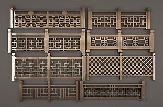 中式栏杆模型3d模型