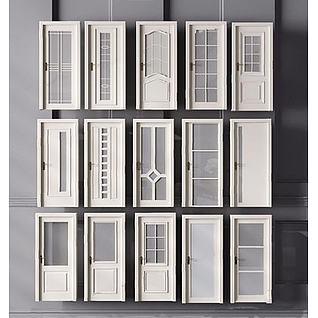 白色卫生间门3d模型