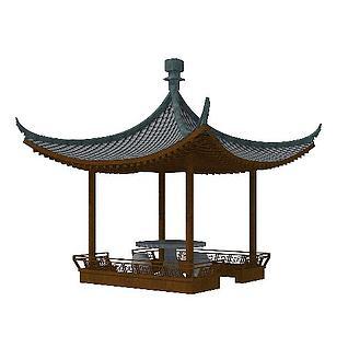 新中式凉亭模型图片