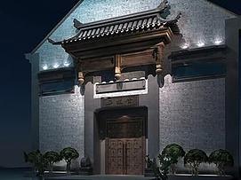中式古典门头3d模型