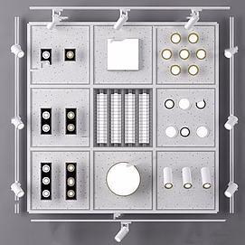 现代筒灯轨道射灯模型