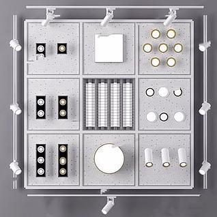 现代筒灯轨道射灯3d模型