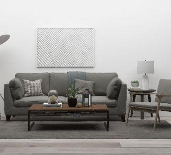 灰色沙发茶几组合