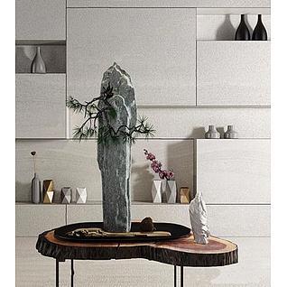 新中式盆栽3d模型