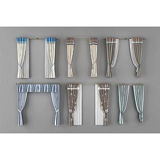 罗马杆窗帘3d模型