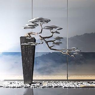 新中式松树摆件3d模型
